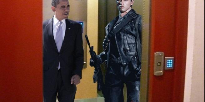 homme armé avec Obama