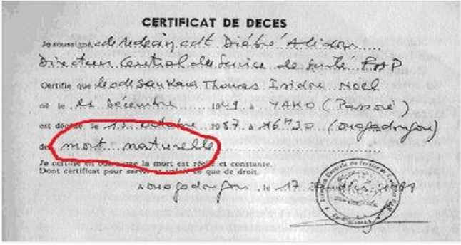Certificat de decès de Thomas sankara