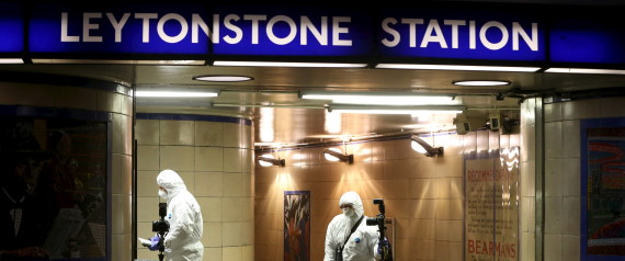 Emergency responders investigate a crime scene at Leytonstone underground station in east London, Britain December 6, 2015. Police were called to reports of a number of people stabbed at the station in east London and a man threatening other people with a knife. One man was seriously injured and two sustained minor injuries, police said. REUTERS/Neil Hall - RTX1XDAN